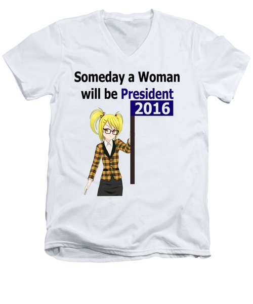 Some Day Woman President Shower Curtain Men's V-Neck T-Shirt by Mac Pherson