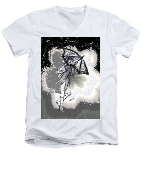 Men's V-Neck T-Shirt featuring the drawing Some Days It Just Pays To Stay In Bed by Desline Vitto