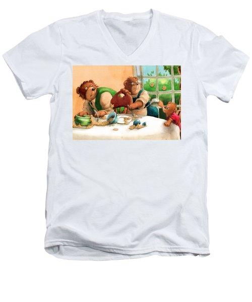 Someones Eaten My Porridge Men's V-Neck T-Shirt by Andy Catling