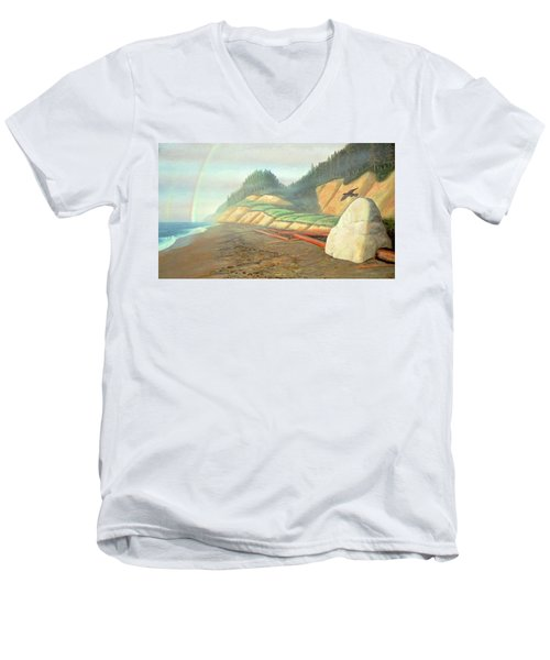 Men's V-Neck T-Shirt featuring the painting Song For My Brother by Laurie Stewart