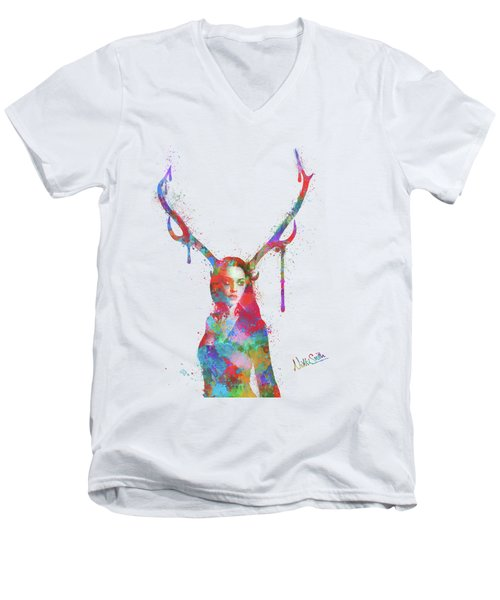 Men's V-Neck T-Shirt featuring the digital art Song Of Elen Of The Ways Antlered Goddess by Nikki Marie Smith