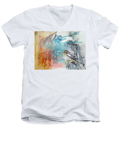 Men's V-Neck T-Shirt featuring the mixed media Song Of Life  by Rose Legge