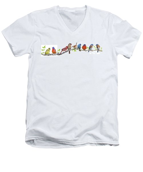 Songbirds On A Leafy Branch Men's V-Neck T-Shirt