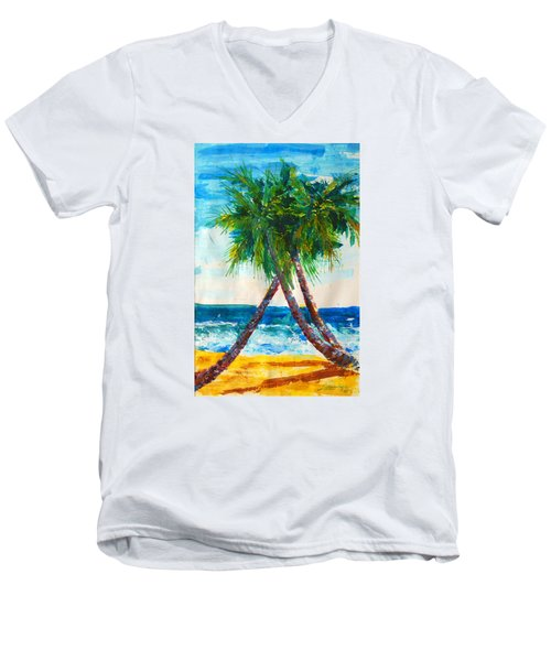 South Beach Palms Men's V-Neck T-Shirt