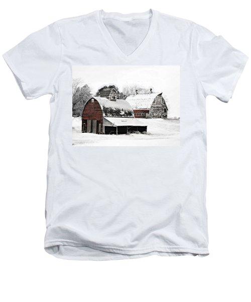 South Dakota Farm Men's V-Neck T-Shirt by Julie Hamilton