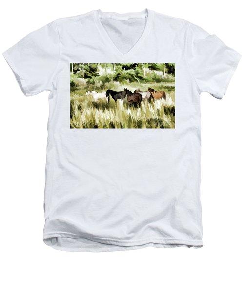 Men's V-Neck T-Shirt featuring the mixed media South Dakota Herd Of Horses by Wilma Birdwell