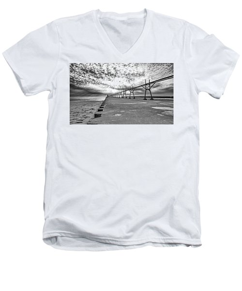 South Haven Pier Wide Angle Men's V-Neck T-Shirt