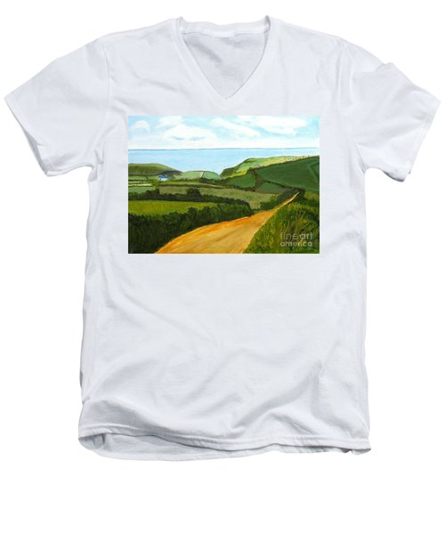 South West England Countryside Cotswold Area Men's V-Neck T-Shirt by Rod Jellison