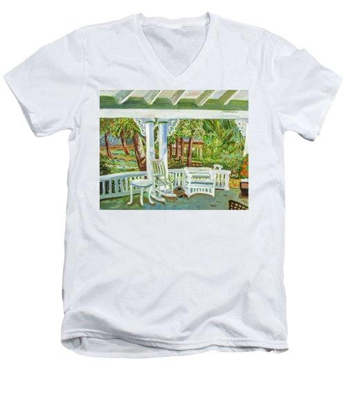 Southern Porches Men's V-Neck T-Shirt by Margaret Harmon