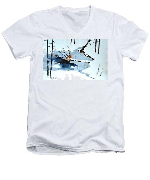 Southern Vermont Roadside Runoff Men's V-Neck T-Shirt by Len Stomski