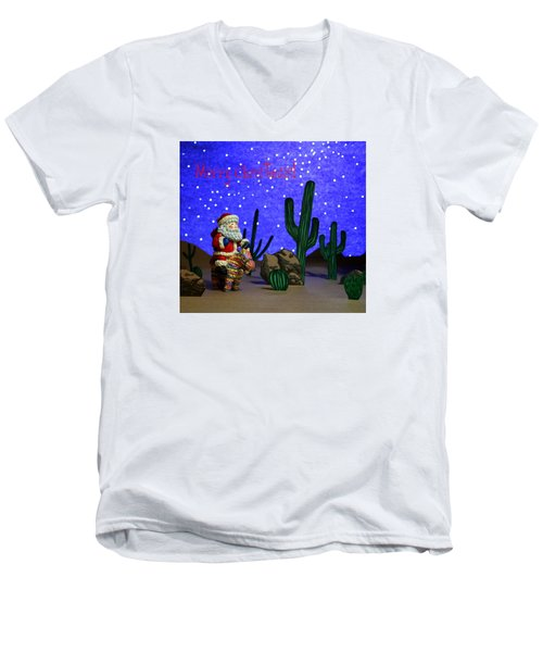 Southwest Santa  Men's V-Neck T-Shirt by Marna Edwards Flavell
