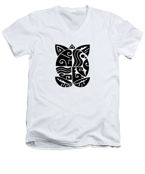 Men's V-Neck T-Shirt featuring the digital art Southwest Tribal Tortuga by Vagabond Folk Art - Virginia Vivier