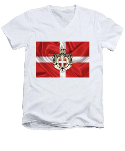 Sovereign Military Order Of Malta - S M O M Coat Of Arms Over Flag Men's V-Neck T-Shirt