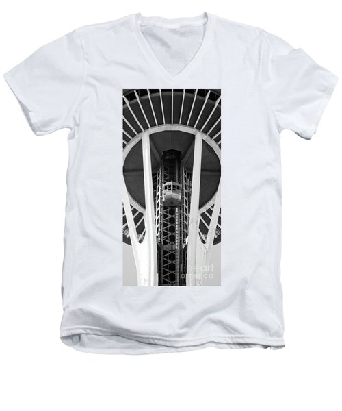 Men's V-Neck T-Shirt featuring the photograph Space Needle Seattle by Chris Dutton