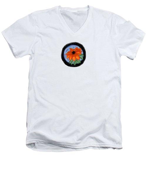 Space Zinnia Men's V-Neck T-Shirt by Jean Pacheco Ravinski