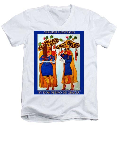 Men's V-Neck T-Shirt featuring the painting Spanish Hostesses. by Don Pedro De Gracia