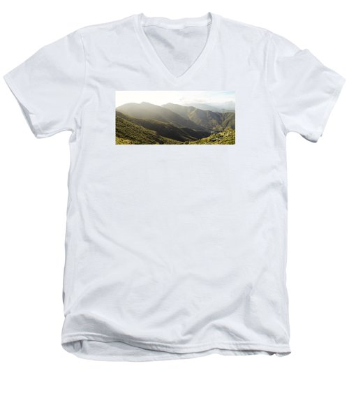 spanish mountain range, Malaga, Andalusia, Men's V-Neck T-Shirt by Perry Van Munster