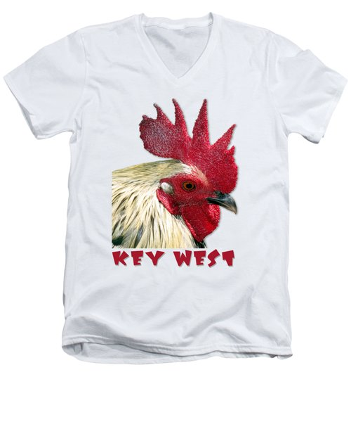 Special Edition Key West Rooster Men's V-Neck T-Shirt by Bob Slitzan