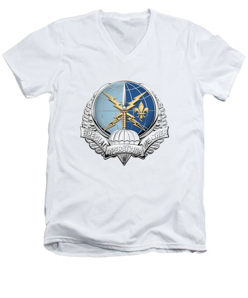 Special Operations Weather Team -  S O W T  Badge Over White Leather Men's V-Neck T-Shirt by Serge Averbukh