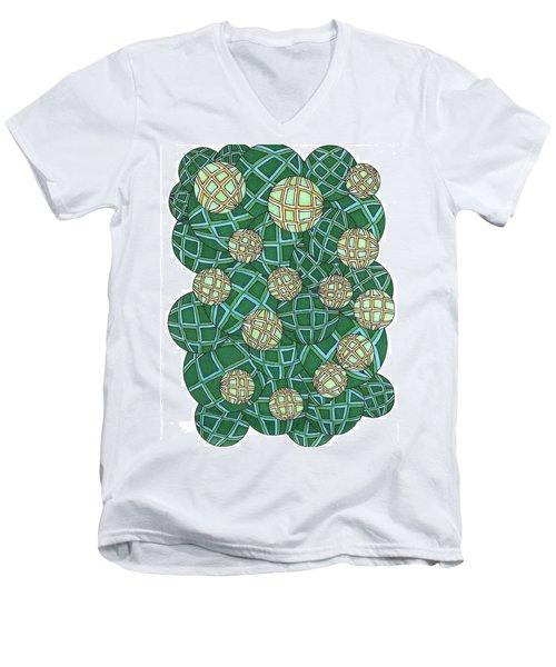 Spheres Cluster Green Men's V-Neck T-Shirt