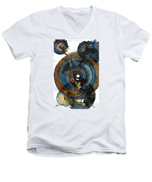 Men's V-Neck T-Shirt featuring the painting Spherical Joy Series 03.030211 by Kris Haas