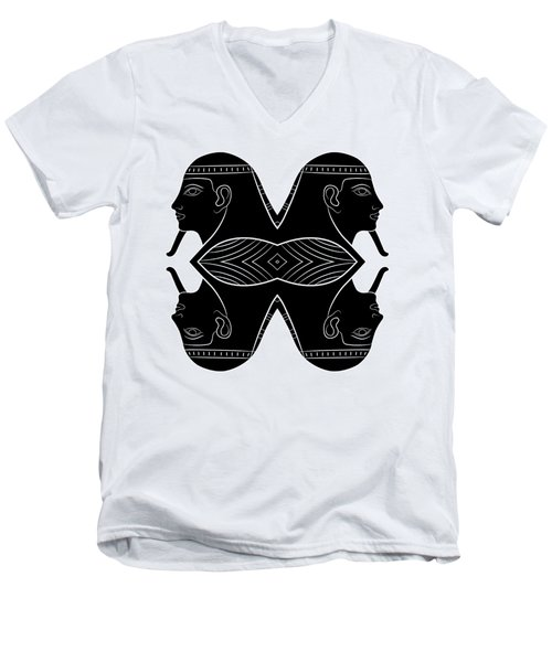 Sphinx - Mythical Creature Of Ancient Egypt Men's V-Neck T-Shirt by Michal Boubin