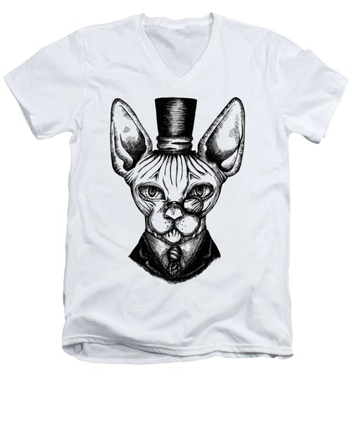 Sphynx Gentleman Men's V-Neck T-Shirt