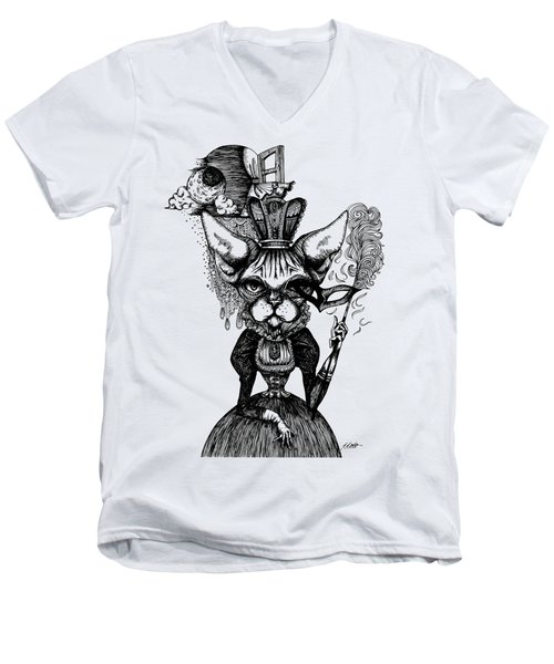 Sphynx Queen Men's V-Neck T-Shirt by Akiko Okabe