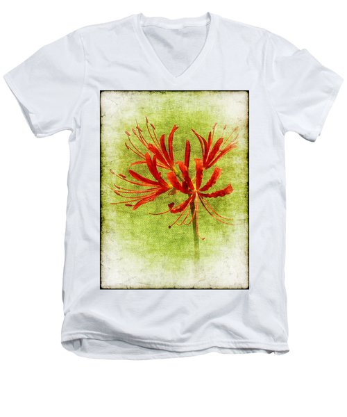 Spider Lily Men's V-Neck T-Shirt by Judi Bagwell