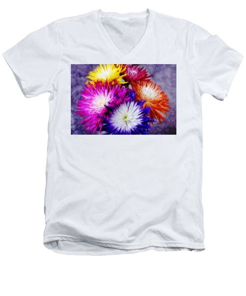 Men's V-Neck T-Shirt featuring the photograph Spider Mums by Joan Bertucci