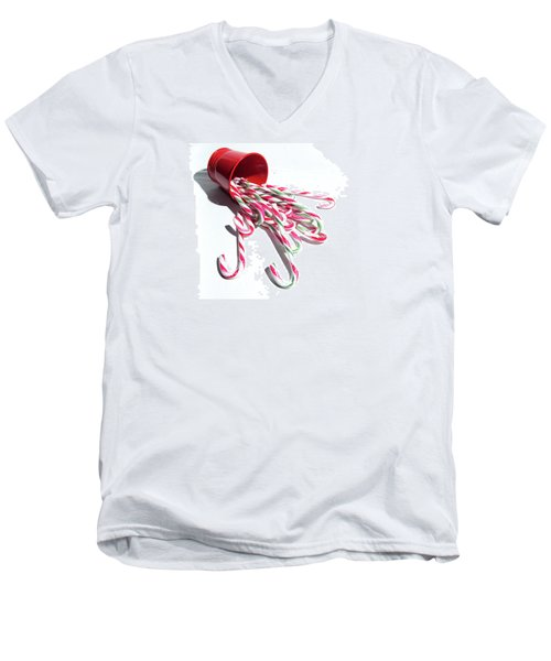 Spilled Candy Canes Men's V-Neck T-Shirt
