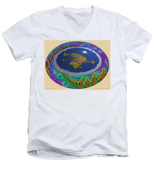 Spiral Of Souls Flat Earth Men's V-Neck T-Shirt