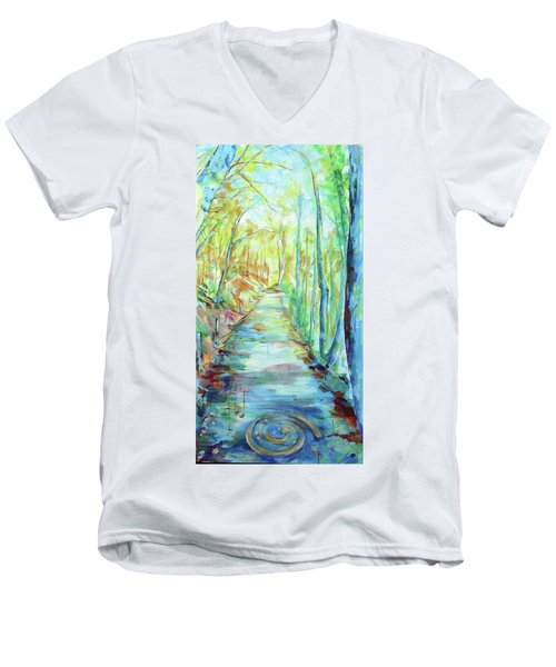 Men's V-Neck T-Shirt featuring the painting Spirale - Spiral by Koro Arandia
