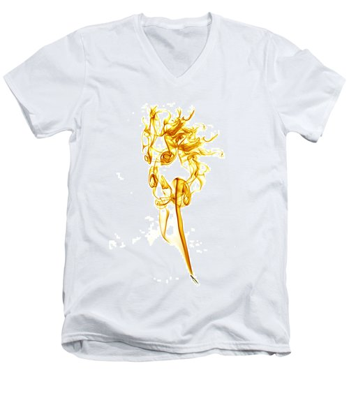Men's V-Neck T-Shirt featuring the photograph Ghostly Smoke - Orange by Nick Bywater