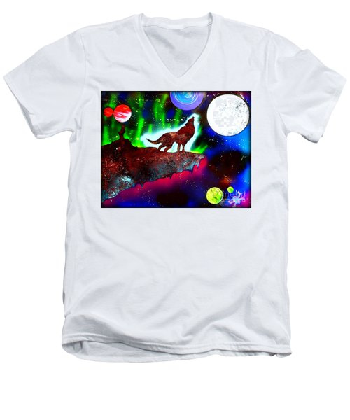 Spirit Of The Wolf Vibrant Men's V-Neck T-Shirt by Justin Moore