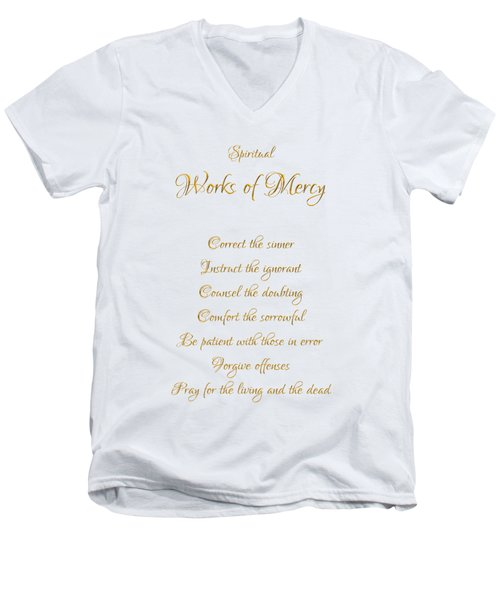 Men's V-Neck T-Shirt featuring the digital art Spiritual Works Of Mercy White Background by Rose Santuci-Sofranko