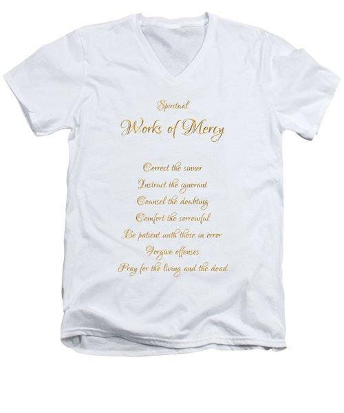 Spiritual Works Of Mercy White Background Men's V-Neck T-Shirt