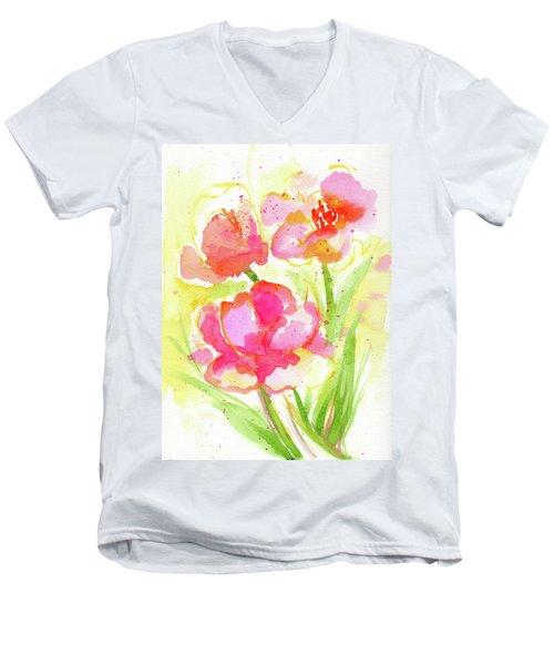 Splash Of Pinks  Men's V-Neck T-Shirt