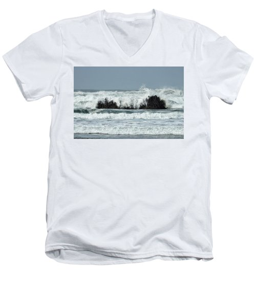 Men's V-Neck T-Shirt featuring the photograph Splash by Peggy Hughes