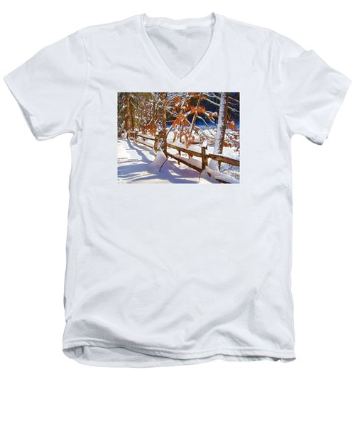 Split Rails Men's V-Neck T-Shirt by Betsy Zimmerli