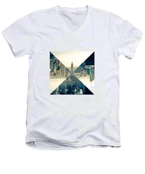 Split Skyline Ny Men's V-Neck T-Shirt