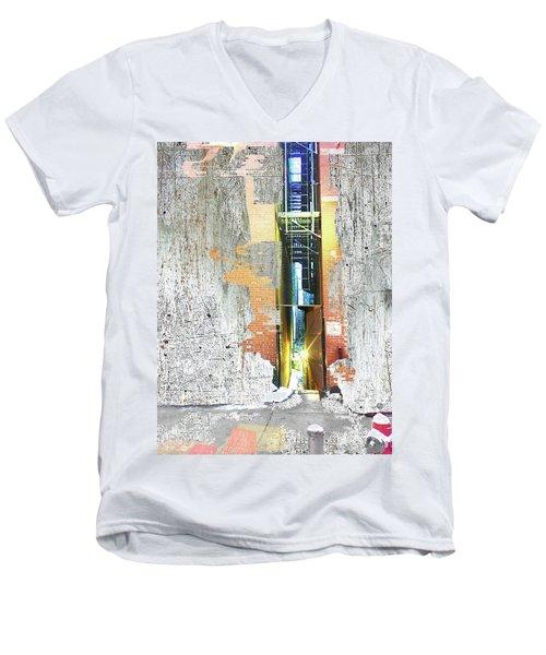 Men's V-Neck T-Shirt featuring the mixed media Split by Tony Rubino