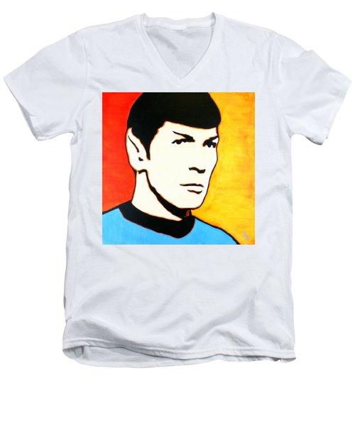 Men's V-Neck T-Shirt featuring the painting Spock Vulcan Star Trek Pop Art by Bob Baker