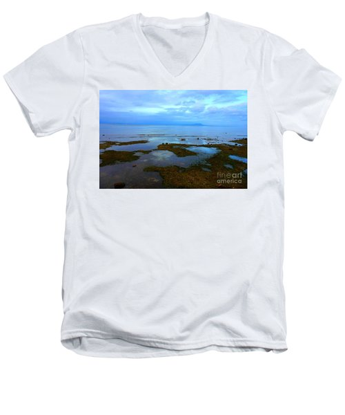 Men's V-Neck T-Shirt featuring the photograph Spooky Morning Tide Receded From Beach by Christopher Shellhammer