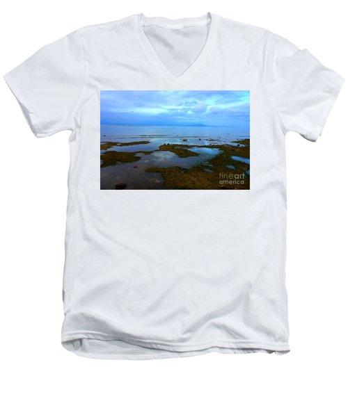 Spooky Morning Tide Receded From Beach Men's V-Neck T-Shirt