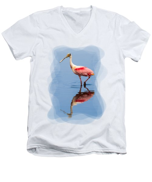 Spoonbill 3 Men's V-Neck T-Shirt by John M Bailey