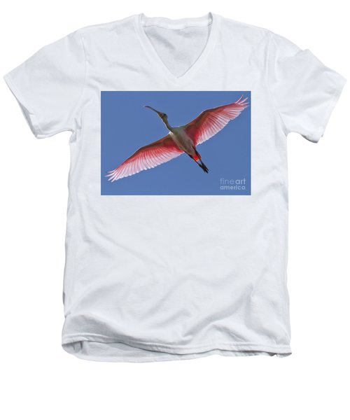 Spoonbill Soaring Men's V-Neck T-Shirt
