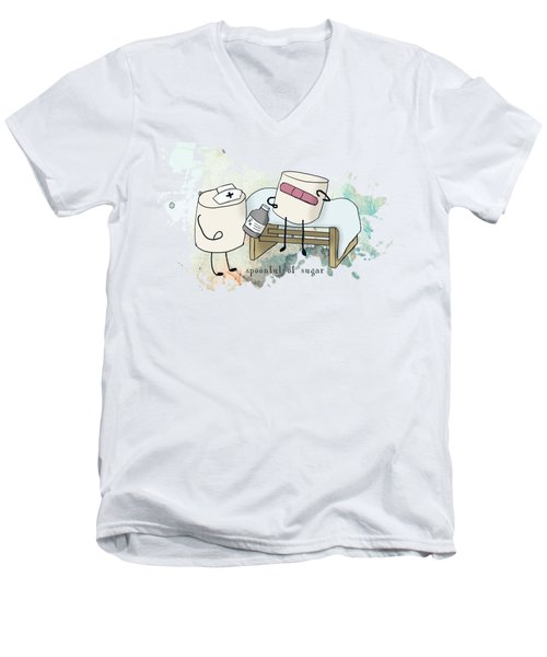 Spoonful Of Sugar Words Illustrated  Men's V-Neck T-Shirt by Heather Applegate