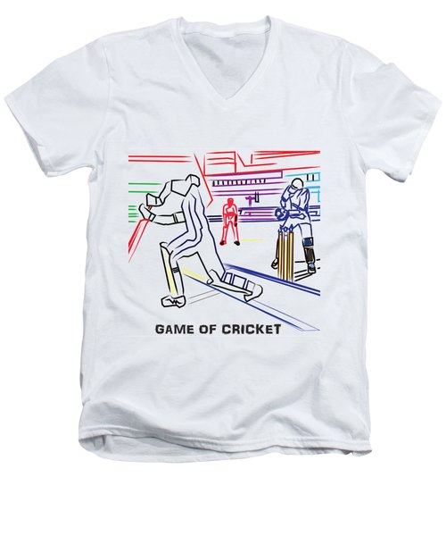 Sports Fan Cricket Played India England Pakistan Srilanka Southafrica Men's V-Neck T-Shirt by Navin Joshi