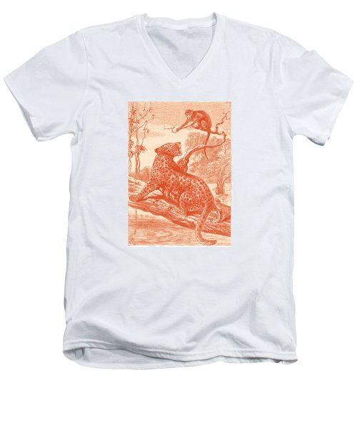Men's V-Neck T-Shirt featuring the drawing Spotted by David Davies